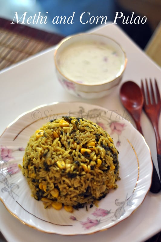 methi and corn pulao