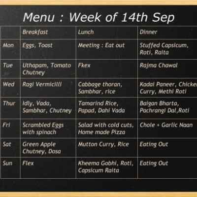 Menu of the week 14th Sep and Recipe for Ragi Vermicelli