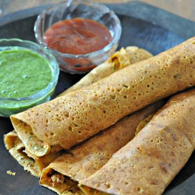 Paneer Stuffed Besan Chilla (Stuffed Savory Lentil Crepes)