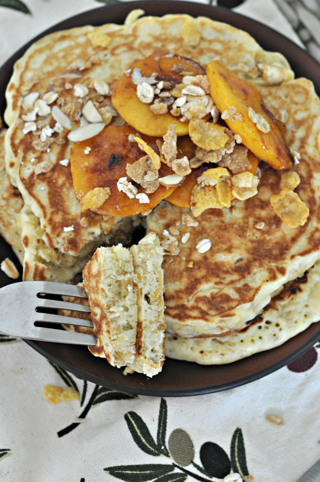 Muesli Pancakes with Caramelized Peaches 1