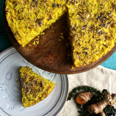 Fresh Turmeric Savoury Cake | Guiltless Baking