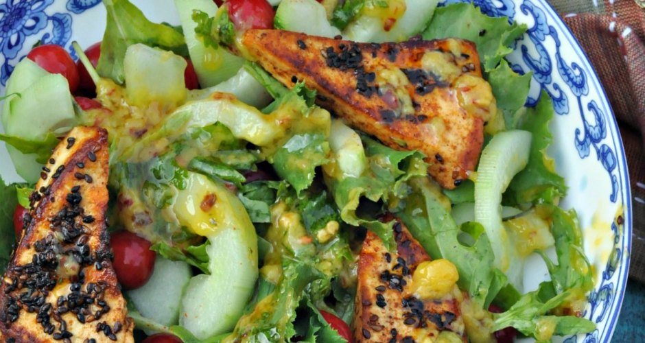 Grilled Paneer Salad with Mango Chilli Dressing