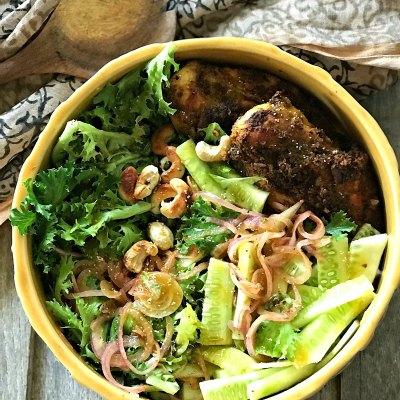 Chicken Xacuti Salad with Honey Poppy Dressing