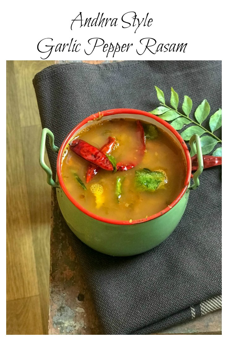 This Andhra style Garlic Pepper Rasam recipe is soul food in our house. A family recipe that has been passed down generations, it is a complete winner.  #sinamon #IndianFood #QuickDiners #GlutenFree #Vegan