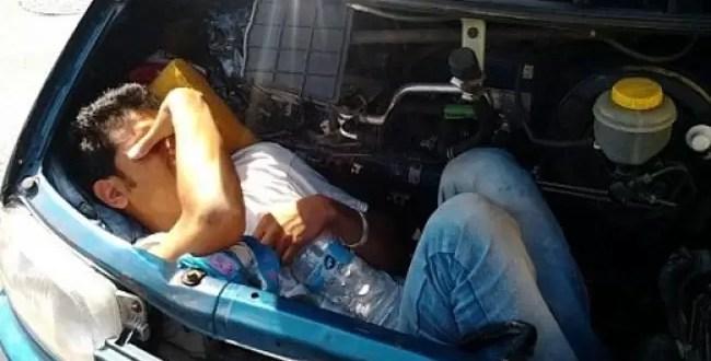 Inmigrante ilegal se escondió 20 horas dentro de un capó
