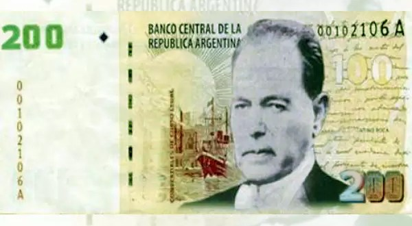 Billetes de 200 y 500 pesos con caras de Perón e Yrigoyen