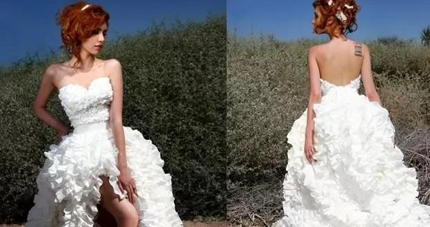 Fotos: Confeccionan vestidos de novia con papel higiénico