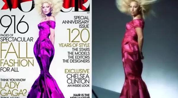 El exceso de photoshop de Lady Gaga en Vogue