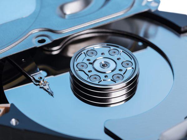 Disassembled computer hard disk memory close-up