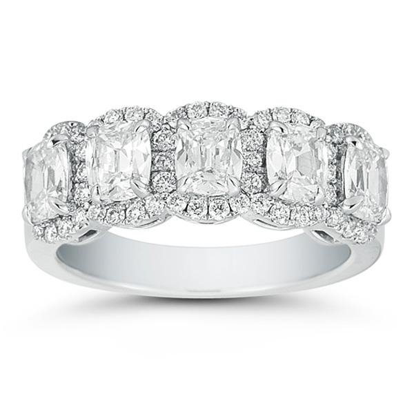 Platinum Henri Daussi 5 Stone Cushion Cut Wedding Ring 2
