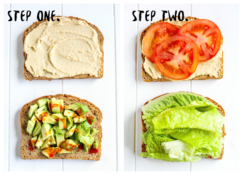 Smashed Avocado Hummus Sandwich