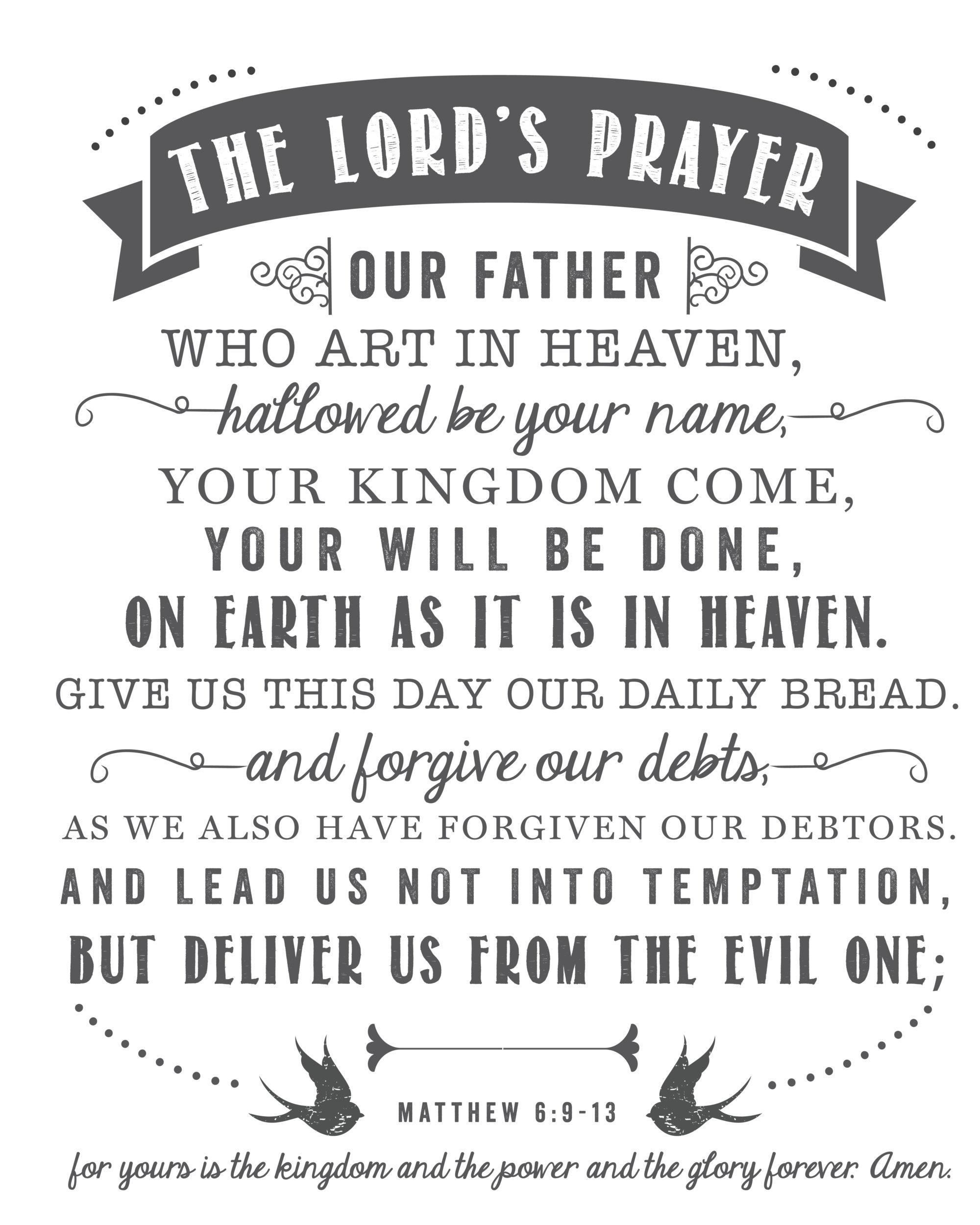 The Lord S Prayer Free Printable