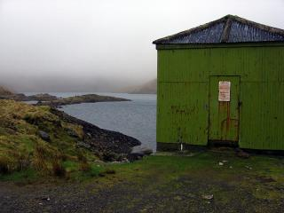 Shed beside Welsh lake