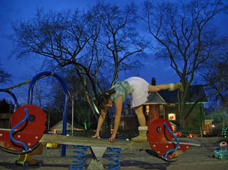Meaghan Beattie in a playground