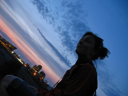 Emily Horn and the sunset