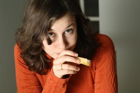 Emily Horn with garlic bread