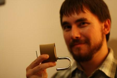 Milan Ilnyckyj with a picked padlock