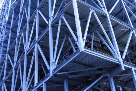 Blue steel scaffolding