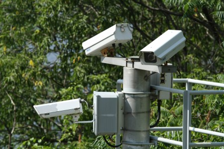 Cluster of security cameras