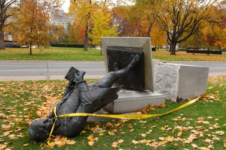 Toppled statue, Queen's Park, Toronto