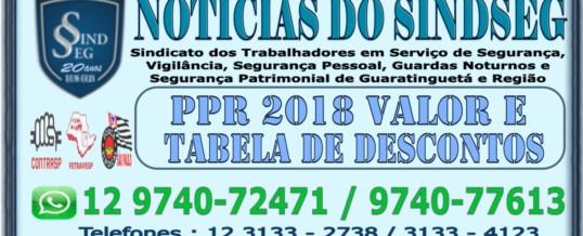 PPR 2018 – Tabela com os Descontos Permitidos