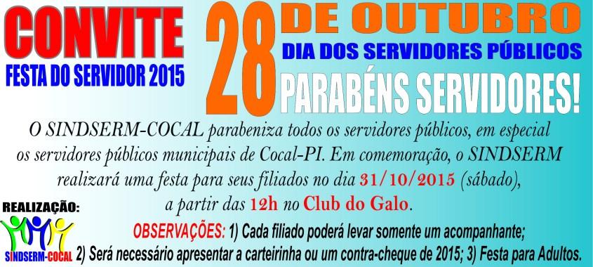 "<span class=""entry-title-primary"">CONVITE FESTA DO SERVIDOR 2015</span> <span class=""entry-subtitle"">Dia 31/10/2015 a partir das 12h no Club do João Galo</span>"