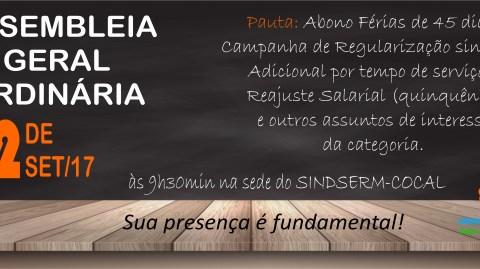 EDITAL DE CONVOCAÇÃO: ASSEMBLEIA GERAL ORDINÁRIA – 02 DE SETEMBRO