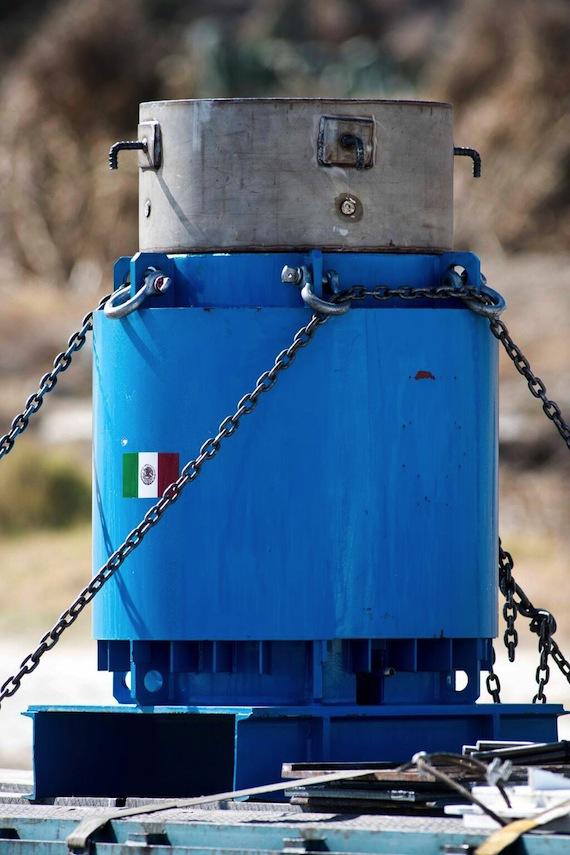 La fuente de Cobalto 60 se encuentra en un contenedor blindado que proveyó el Instituto Nacional de Investigaciones Nucleares. Foto: Sener.