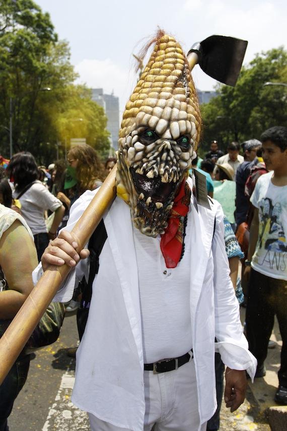 En mayo pasado, cientos de personas se manifestaron en  como parte de la Marcha Mundial contra Mosanto. Foto: Cuartoscuro