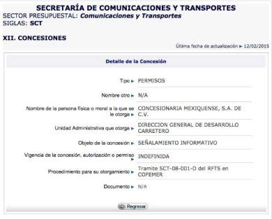 Captura de pantalla del Portal de Obligaciones de Transparencia.