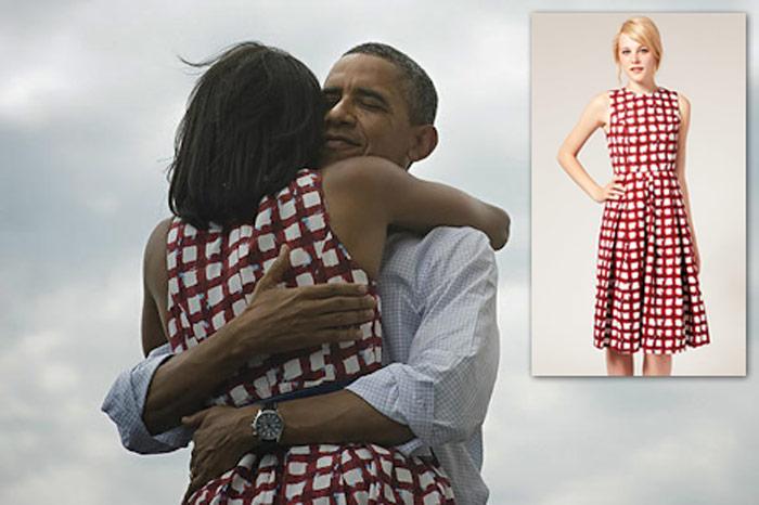 El vestido de menos de 500 pesos de la Primera Dama de Estados Unidos. La foto le daría la vuelta al mundo. Foto y recuadro: Twitter