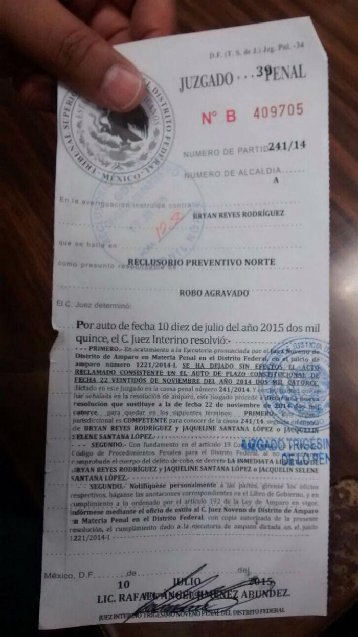 Orden de liberación de Bryan Reyes Rodríguez. Foto: Cortesía Jorge Miranda/Liga de Abogados 1 de Diciembre