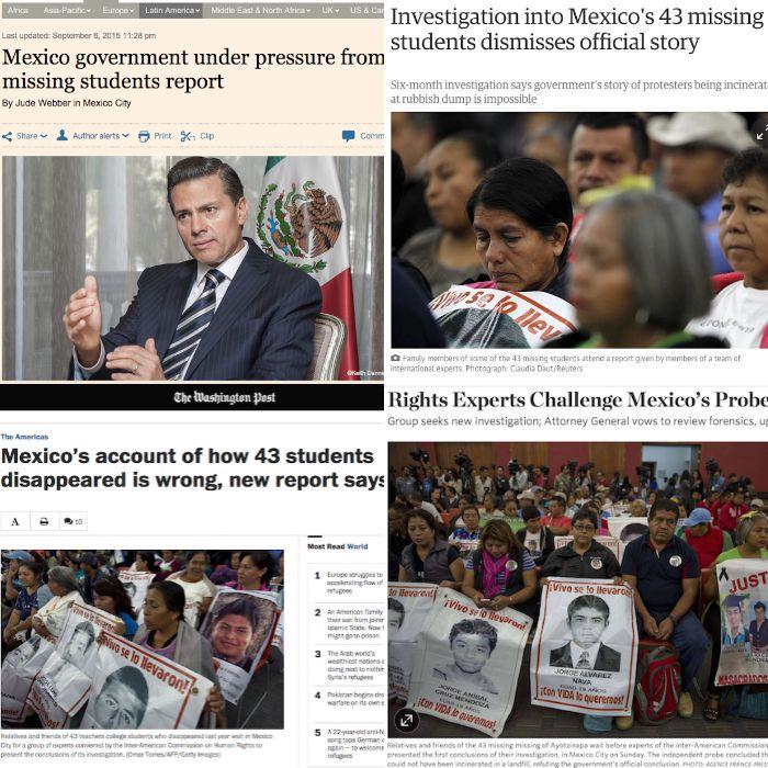 Algunos de los artículos de la prensa extranjera sobre el informe del GIEI de la CIDH.