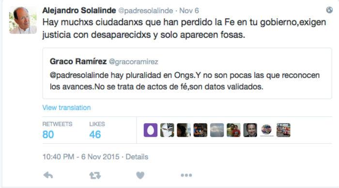 Una muestra del intercambio de en Twitter entre Solalinde y el Goberndor de Morelos: Foto: @padresolalinde