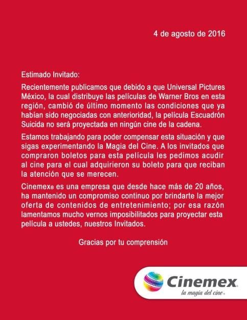 Comunicado Cinemex