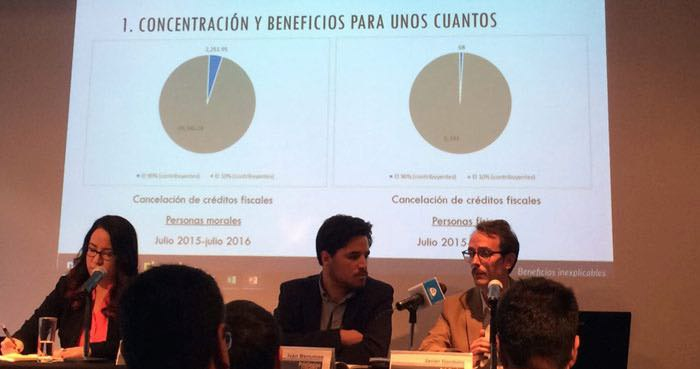 """Fundar, Centro de Análisis e Investigación presentó los resultados de la investigación """"Privilegios fiscales. Foto: Alejandra Padilla, SinEmbargo."""