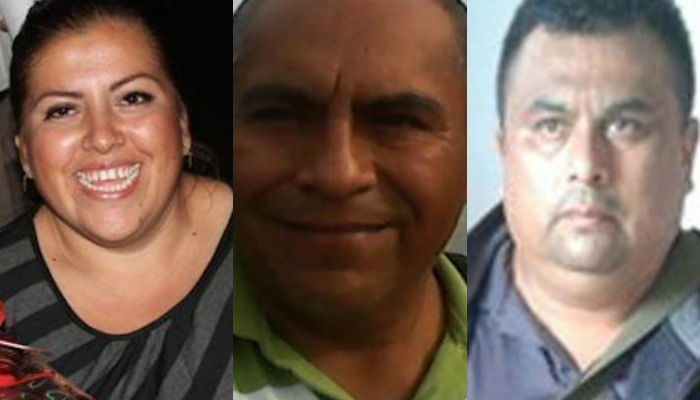 Anabel Flores, Manuel Torres y Pedro Tamayo, los periodistas asesinados en Veracruz este año. Foto: Especial
