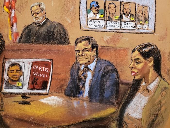 """""""El Chapo"""" Guzmán estuvo acompañado por su esposa Emma Coronel durante casi todo el juicio."""