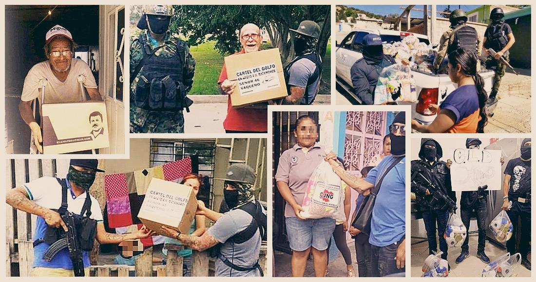 Imágenes de la entrega de despensas por parte de grupos criminales.