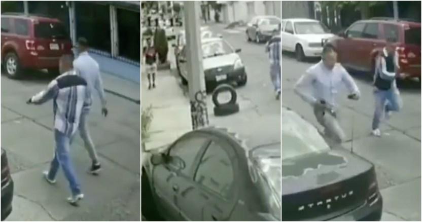 asalto ciudad azteca - VIDEO: Sujetos en moto intentan asaltar a joven en Edomex, éste huye pero lo alcanzan y golpean