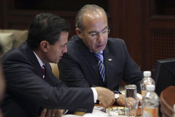Los expresidentes Peña Nieto y Felipe Calderón. Foto: Cuartoscuro