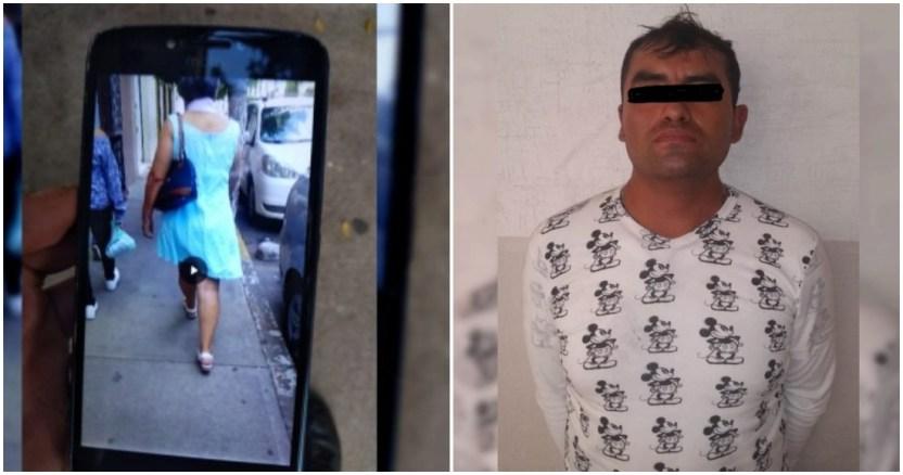 rescatado por los policias - VIDEO: Hombre persigue y agrede sexualmente a una mujer en callejón de Puebla; autoridades lo buscan