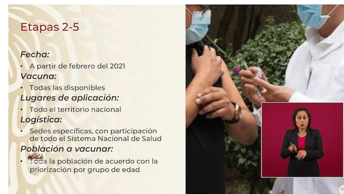 Resumen sobre el resto de las etapas de vacunación en México.