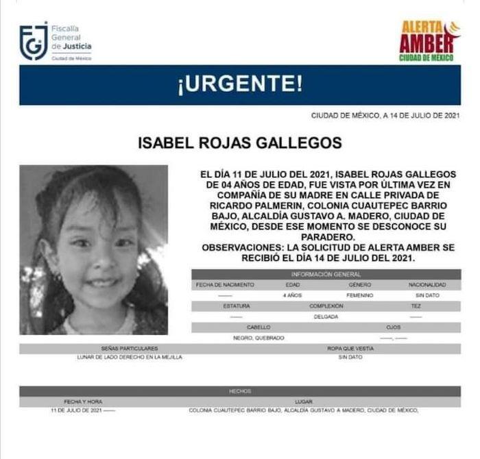 isabel rojas gallegos - Alerta Amber   Isabel Rojas, de 4 años, desparece en Gustavo A. Madero, CdMx – SinEmbargo MX