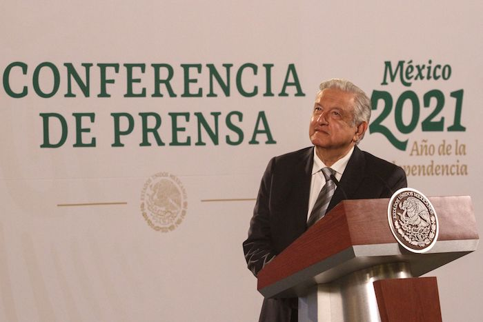 El Presidente Andrés Manuel López Obrador durante la conferencia matutina.
