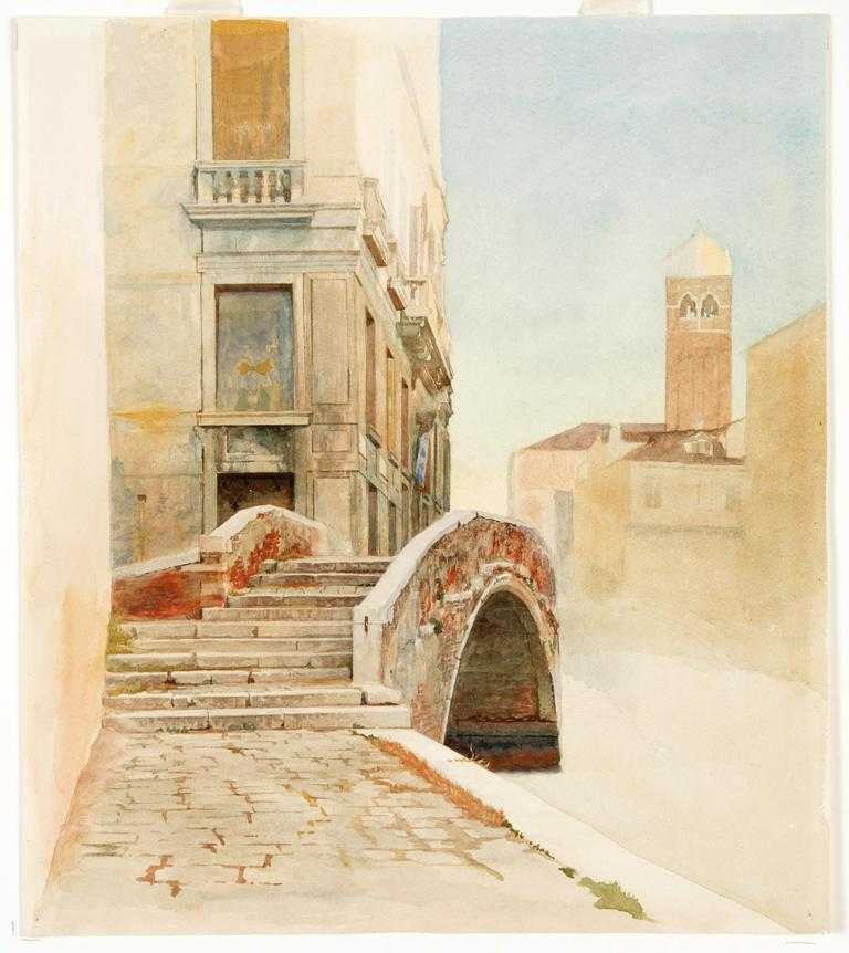 Veduta sul ponte dei servi e campanile of Santa Fosca a Venezia, 1877 Angelo Alessandri (1854-1931) Acquerello su carta, 27 x 23.8 cm Sheffield Museums, Ruskin Collection, CGSG00365.