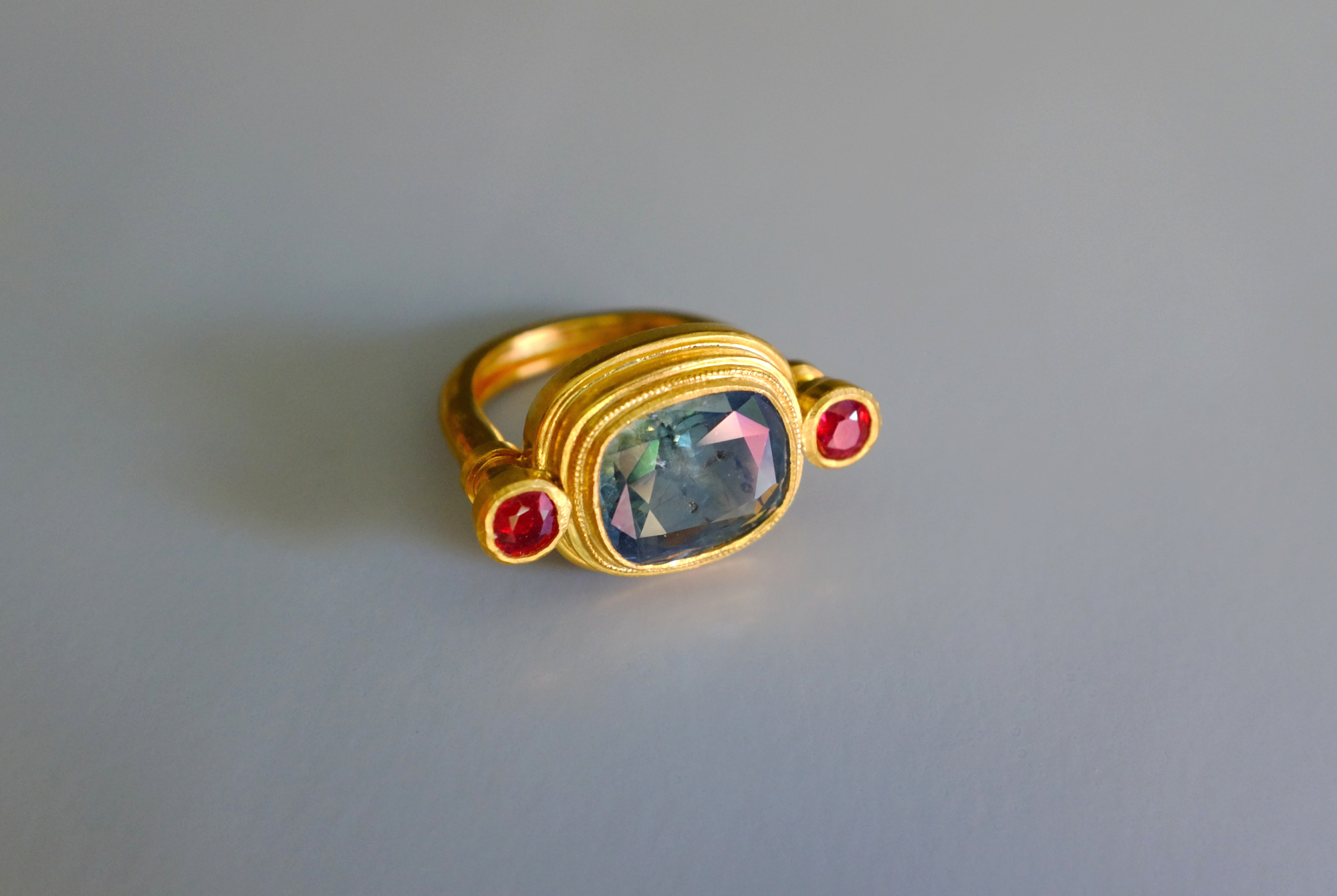 medieval style ring, ruby and sapphire gold ring, blue green sapphire ring, ancient Roman style rings, ancient Greek style rings