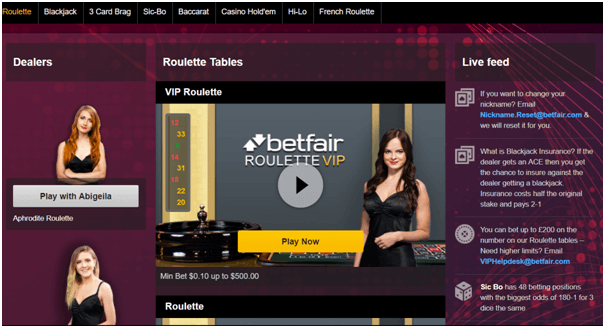 Betfair casino Live dealer
