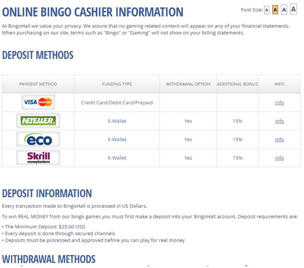 Bingo Hall Singapore casino- Deposit methods
