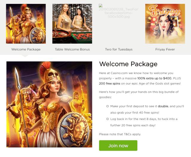 Casino.com welcome bonus